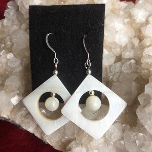 Sterling silver and mother of pearl earrings.